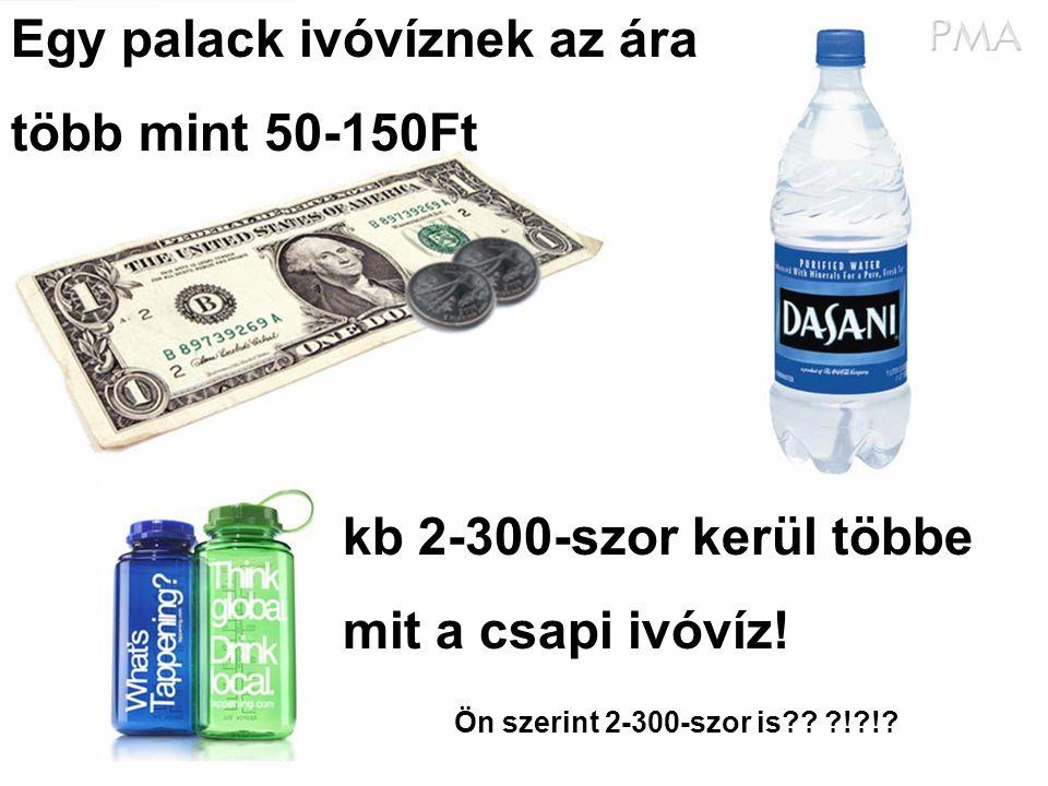 Egy palack ivóvíznek az ára több mint 50-150Ft