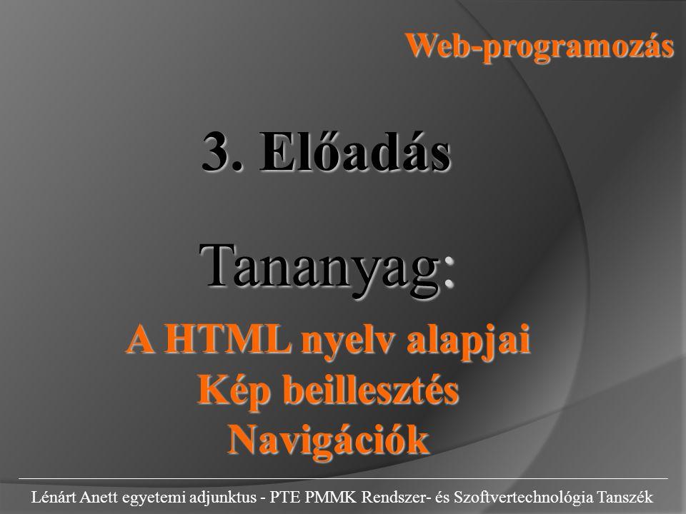 Tananyag: 3. Előadás A HTML nyelv alapjai Kép beillesztés Navigációk