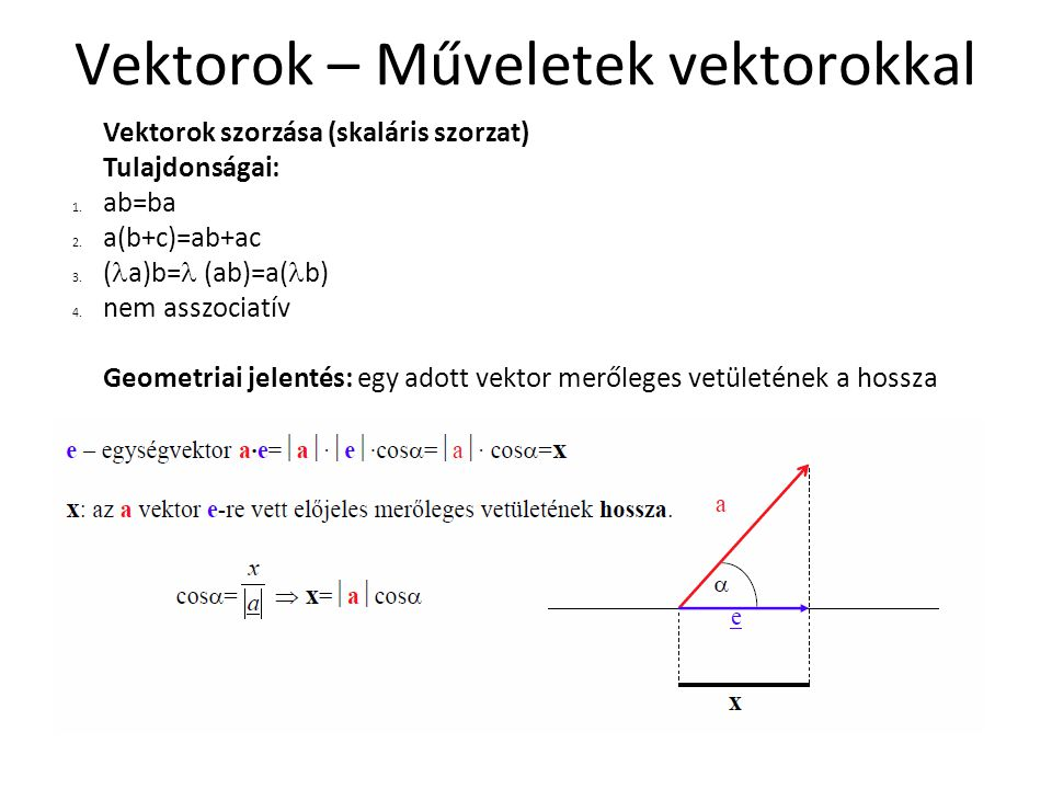 Vektorok – Műveletek vektorokkal