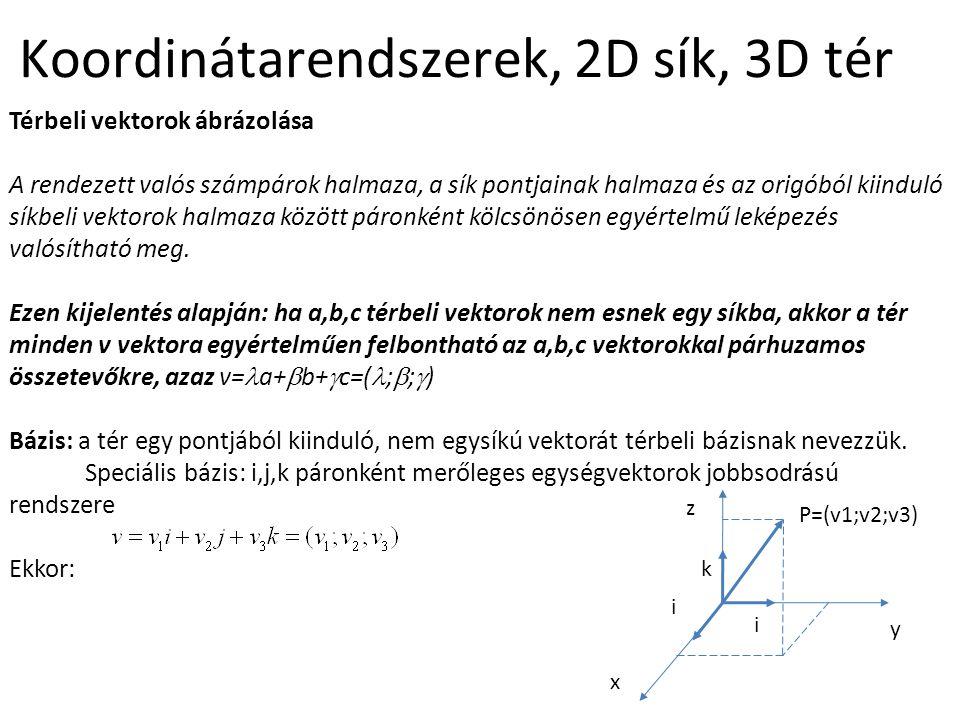 Koordinátarendszerek, 2D sík, 3D tér