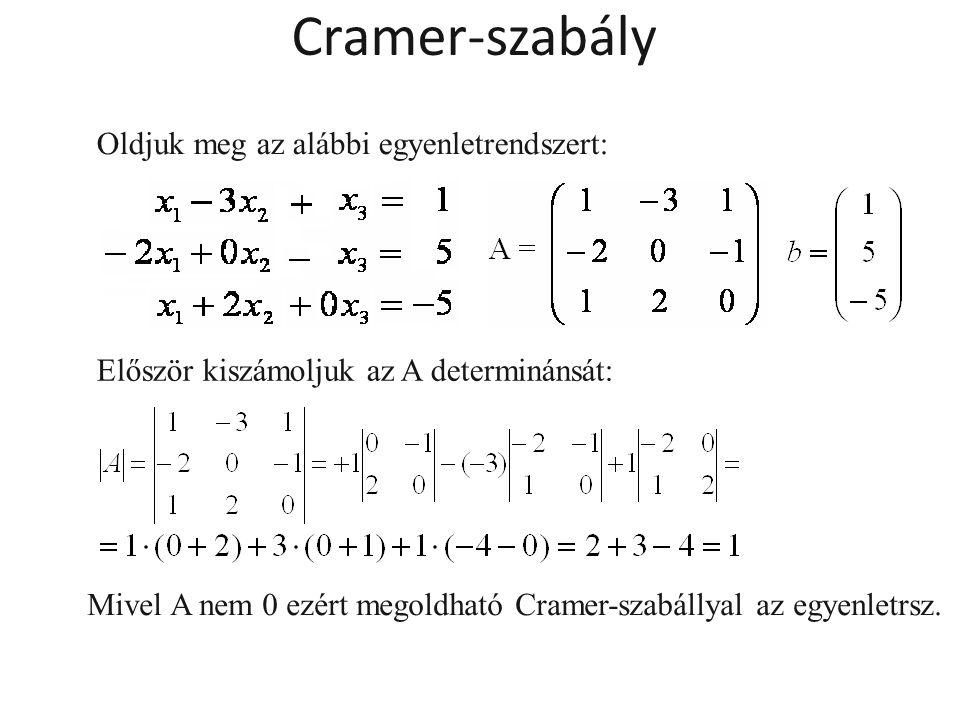 Cramer-szabály Oldjuk meg az alábbi egyenletrendszert: