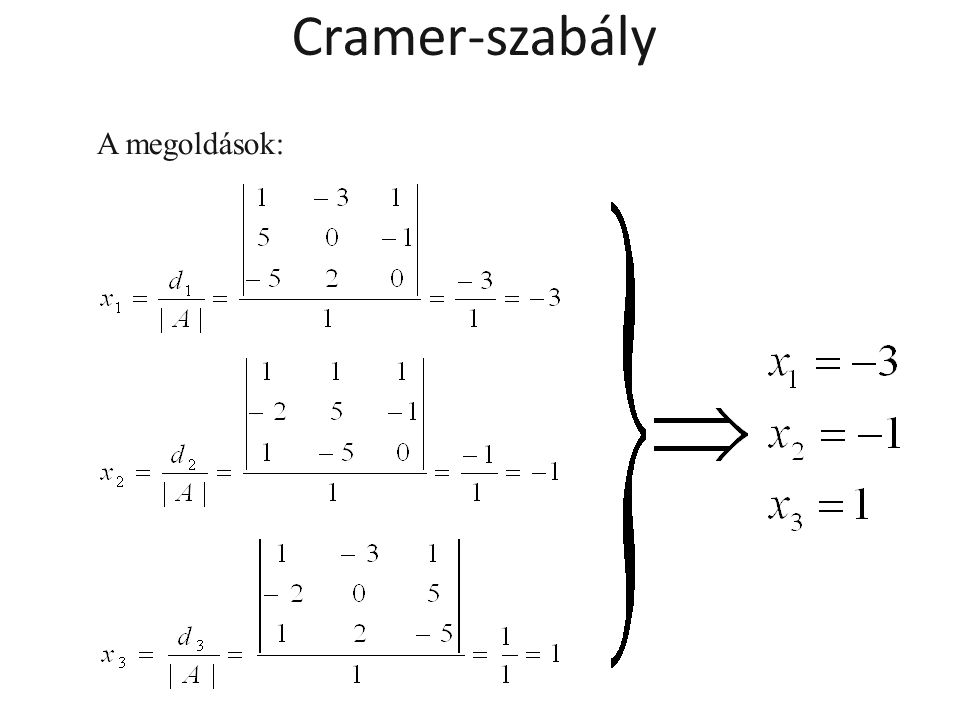 Cramer-szabály A megoldások: