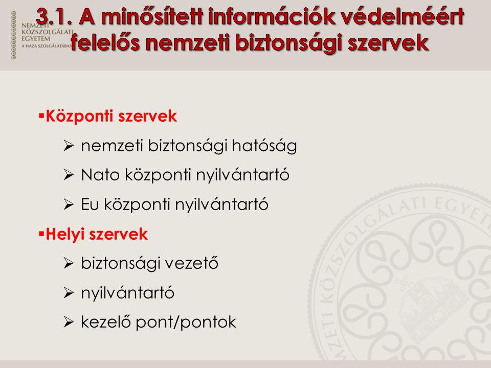 3.1. A minősített információk védelméért felelős nemzeti biztonsági szervek