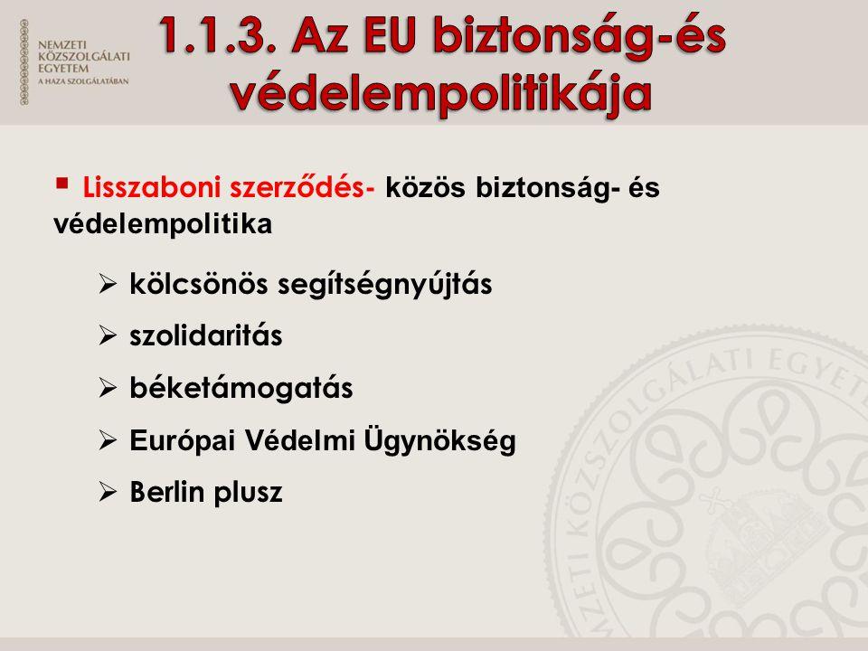1.1.3. Az EU biztonság-és védelempolitikája