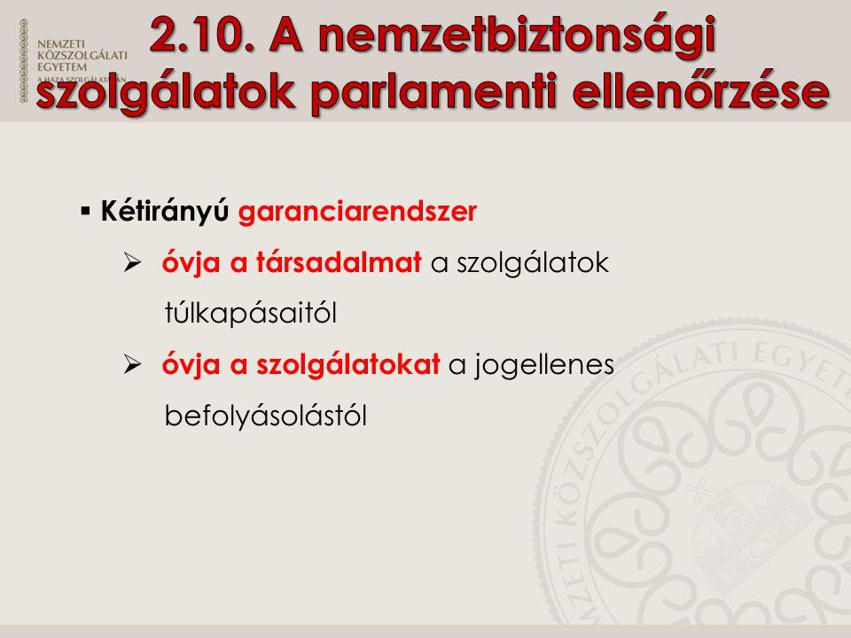 2.10. A nemzetbiztonsági szolgálatok parlamenti ellenőrzése