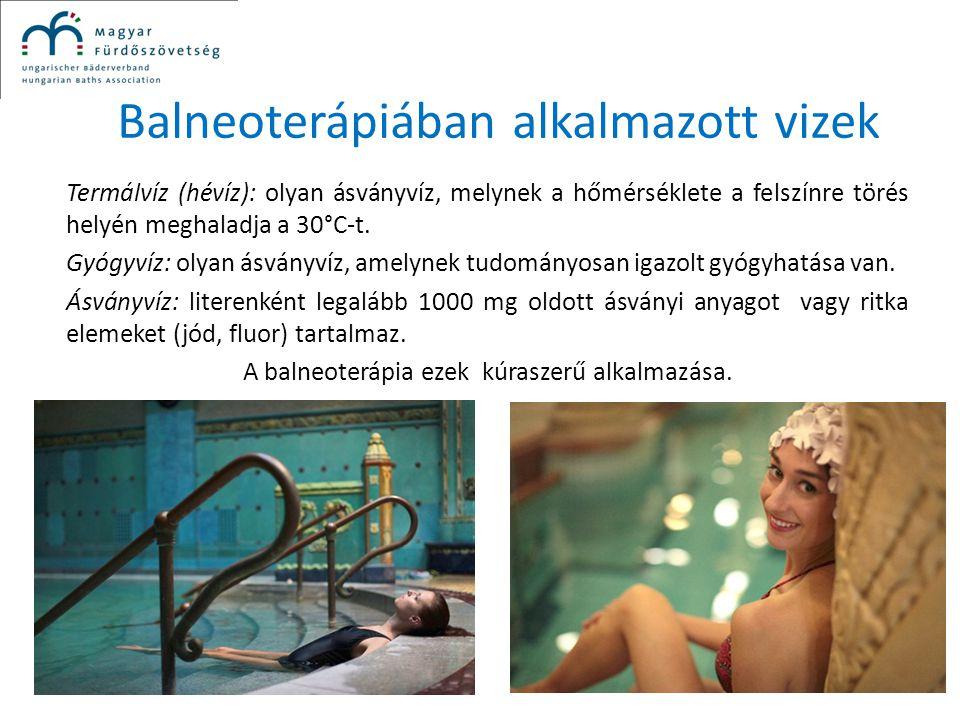 Balneoterápiában alkalmazott vizek