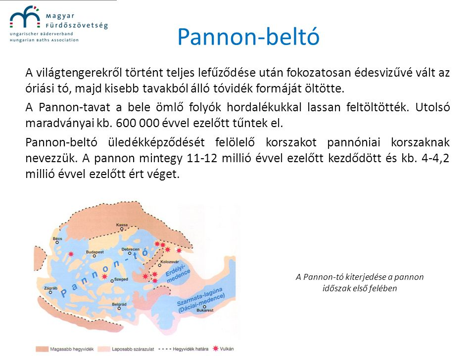 A Pannon-tó kiterjedése a pannon időszak első felében