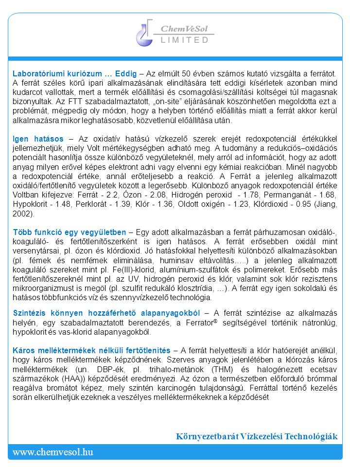 www.chemvesol.hu Környezetbarát Vízkezelési Technológiák