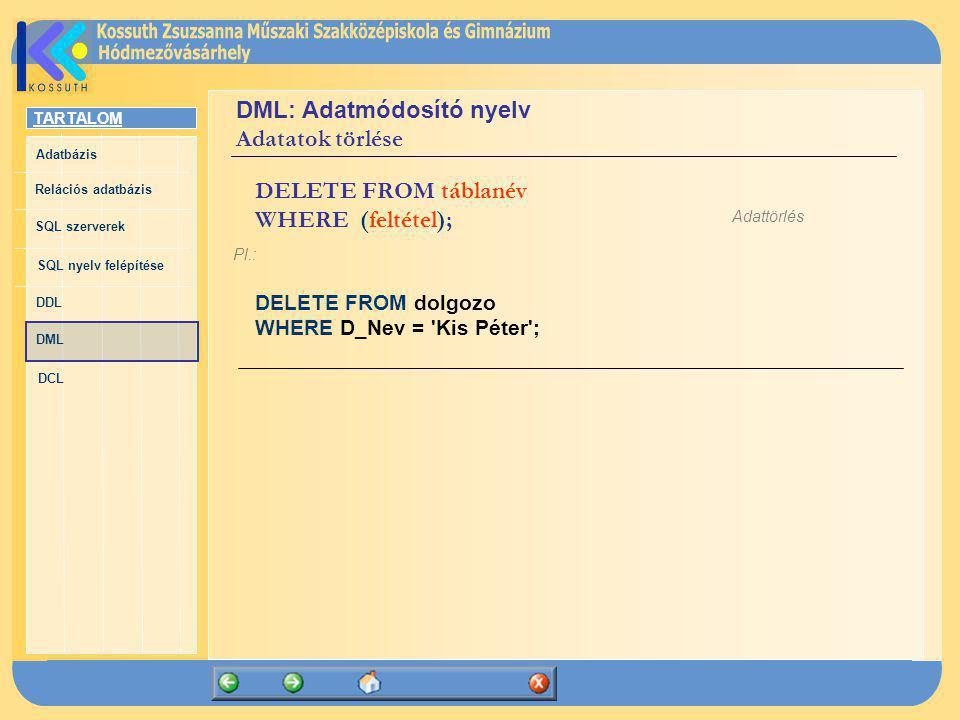 DML: Adatmódosító nyelv Adatatok törlése