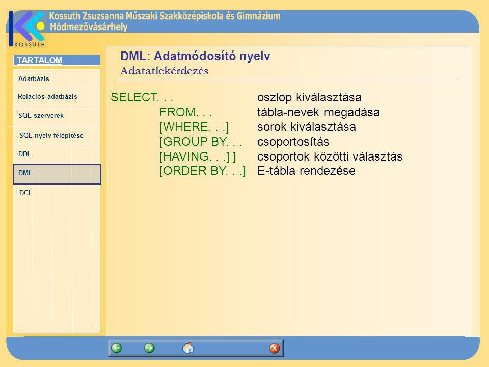 DML: Adatmódosító nyelv