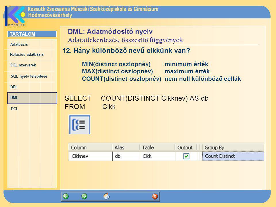 DML: Adatmódosító nyelv Adatatlekérdezés, összesítő függvények
