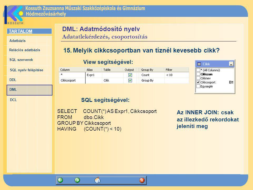 DML: Adatmódosító nyelv Adatatlekérdezés, csoportosítás