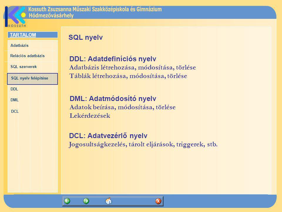 SQL nyelv DDL: Adatdefiníciós nyelv. Adatbázis létrehozása, módosítása, törlése. Táblák létrehozása, módosítása, törlése.