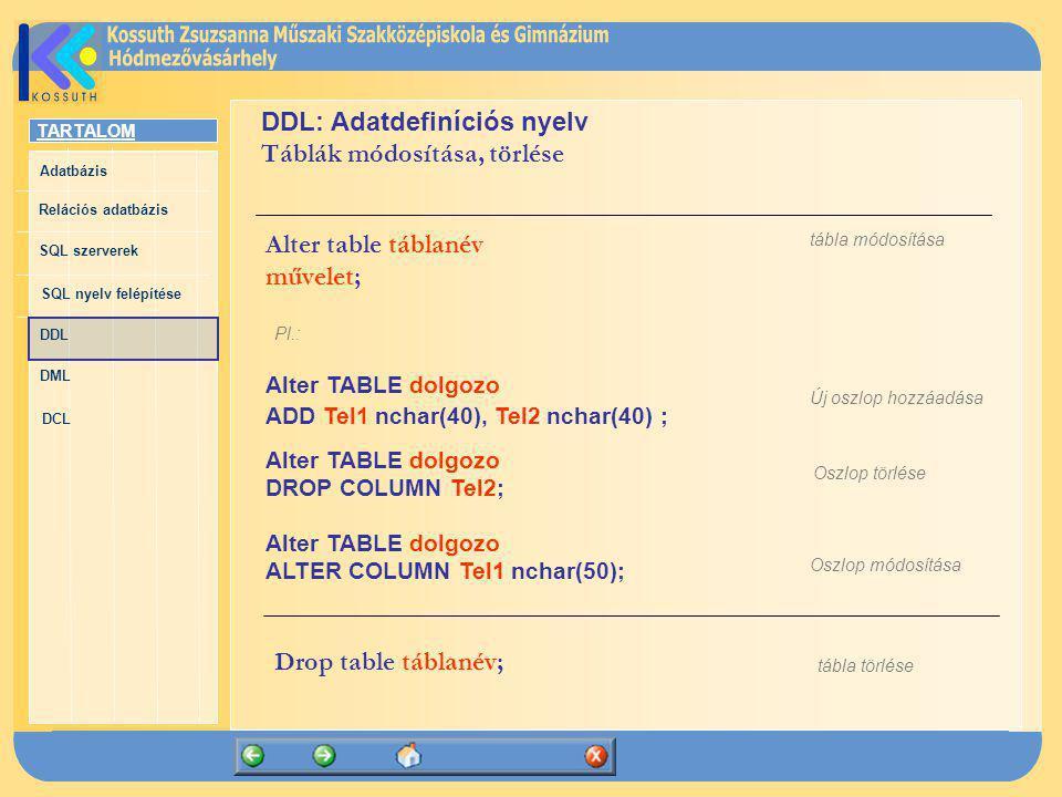 DDL: Adatdefiníciós nyelv Táblák módosítása, törlése