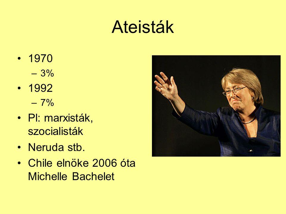 Ateisták 1970 1992 Pl: marxisták, szocialisták Neruda stb.
