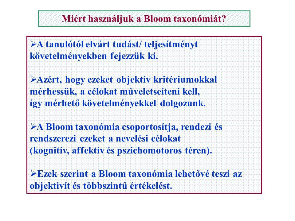 Miért használjuk a Bloom taxonómiát