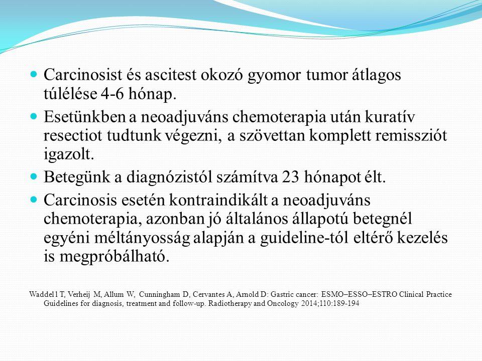 Carcinosist és ascitest okozó gyomor tumor átlagos túlélése 4-6 hónap.