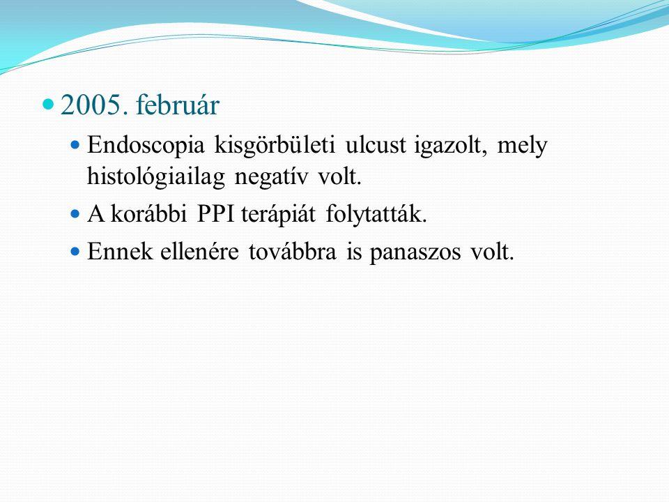 2005. február Endoscopia kisgörbületi ulcust igazolt, mely histológiailag negatív volt. A korábbi PPI terápiát folytatták.