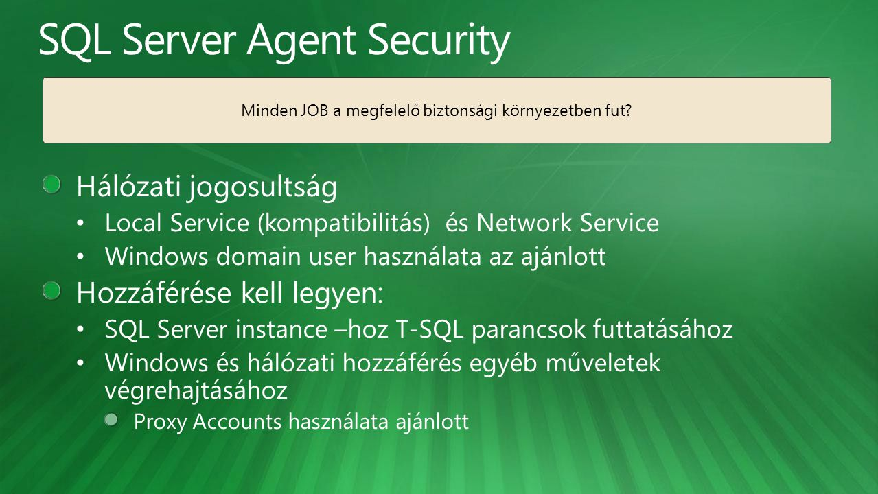 SQL Server Agent Security