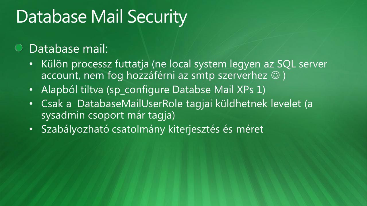 Database Mail Security