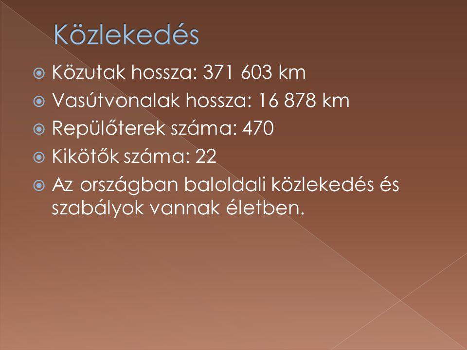 Közlekedés Közutak hossza: 371 603 km Vasútvonalak hossza: 16 878 km
