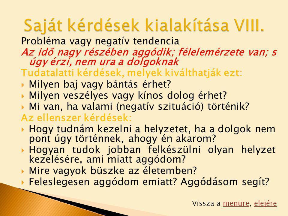 Saját kérdések kialakítása VIII.