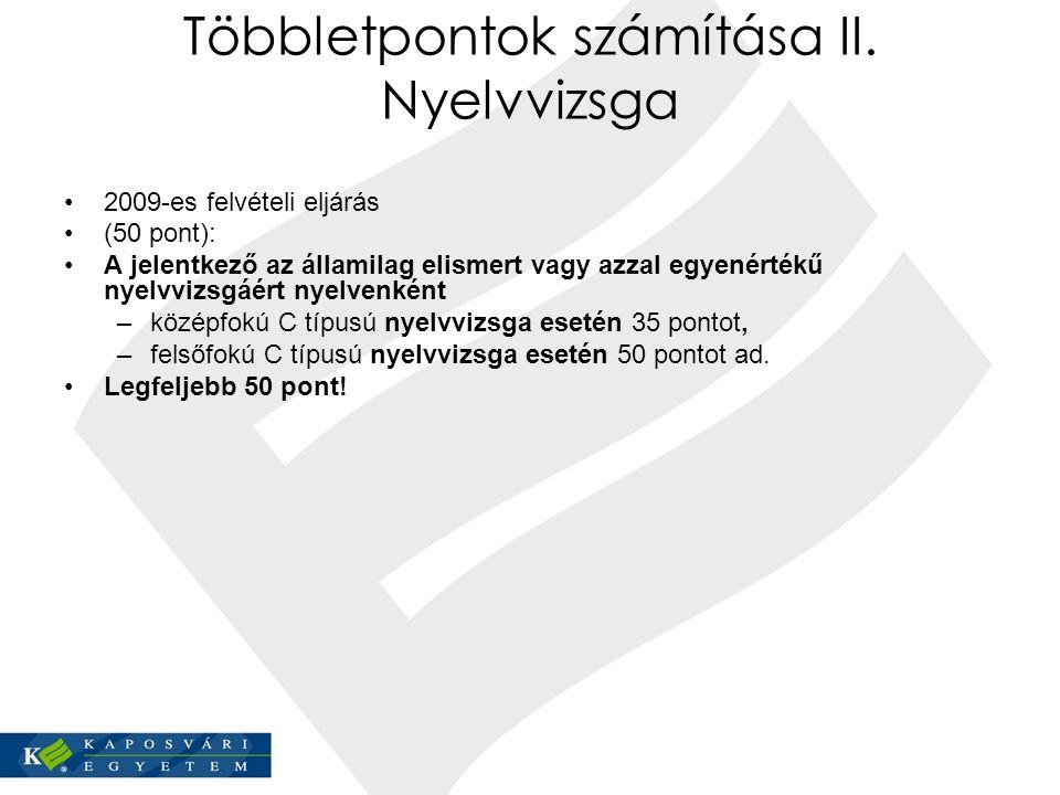 Többletpontok számítása II. Nyelvvizsga