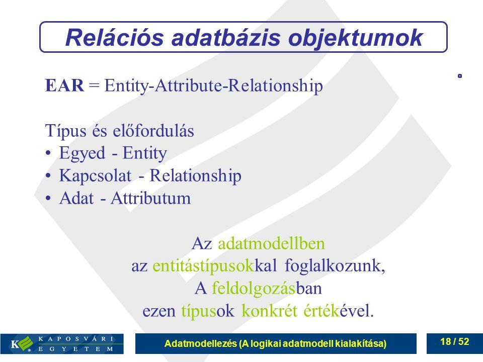 Relációs adatbázis objektumok