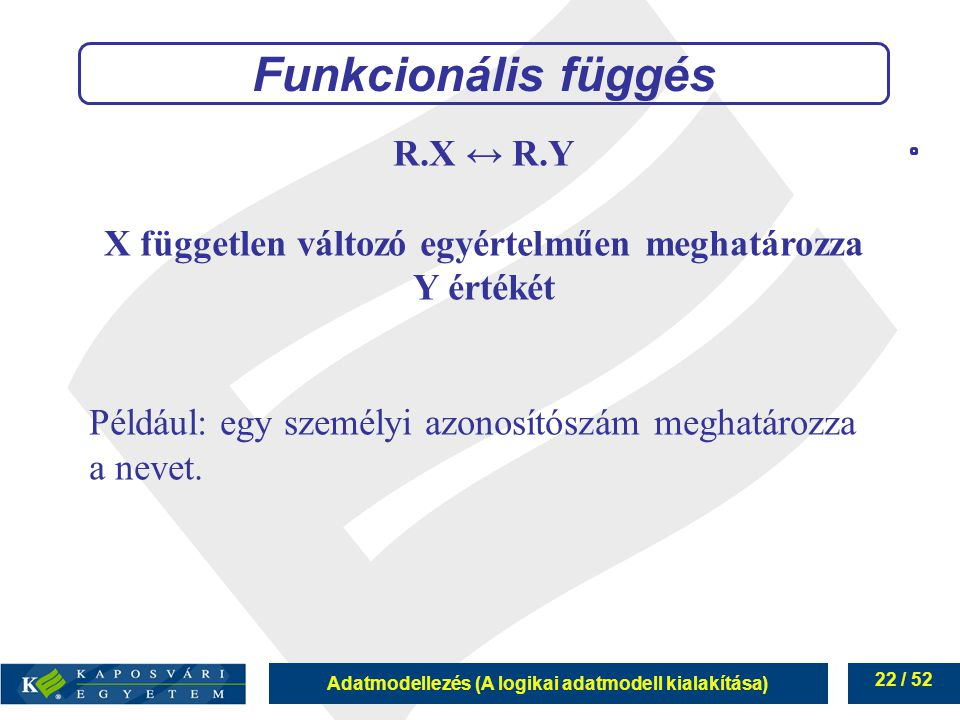 X független változó egyértelműen meghatározza Y értékét