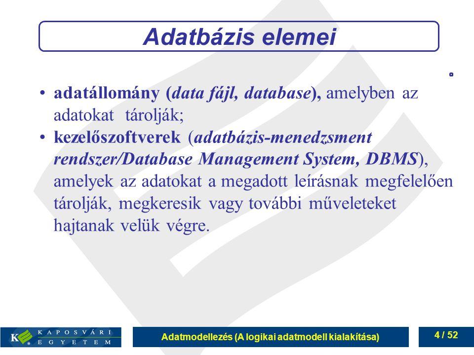 Adatbázis elemei adatállomány (data fájl, database), amelyben az adatokat tárolják;