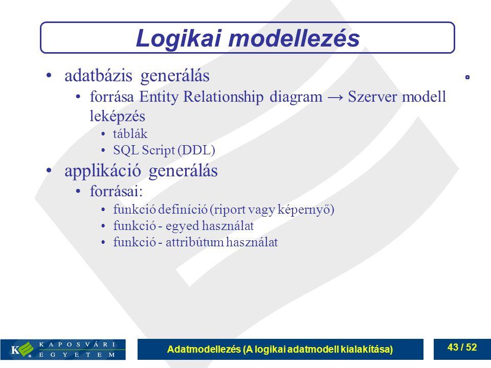 Logikai modellezés adatbázis generálás applikáció generálás