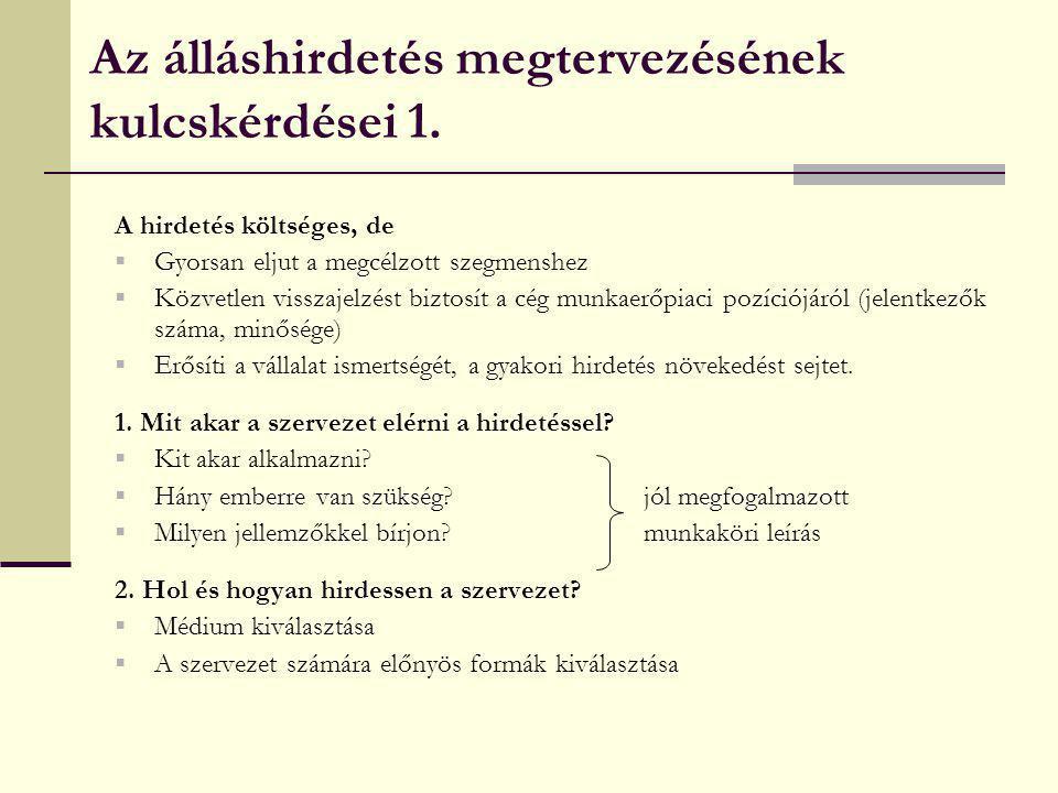 Az álláshirdetés megtervezésének kulcskérdései 1.
