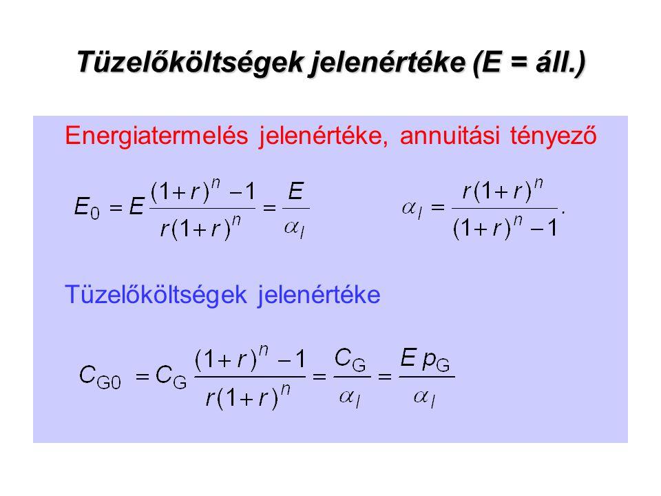 Tüzelőköltségek jelenértéke (E = áll.)