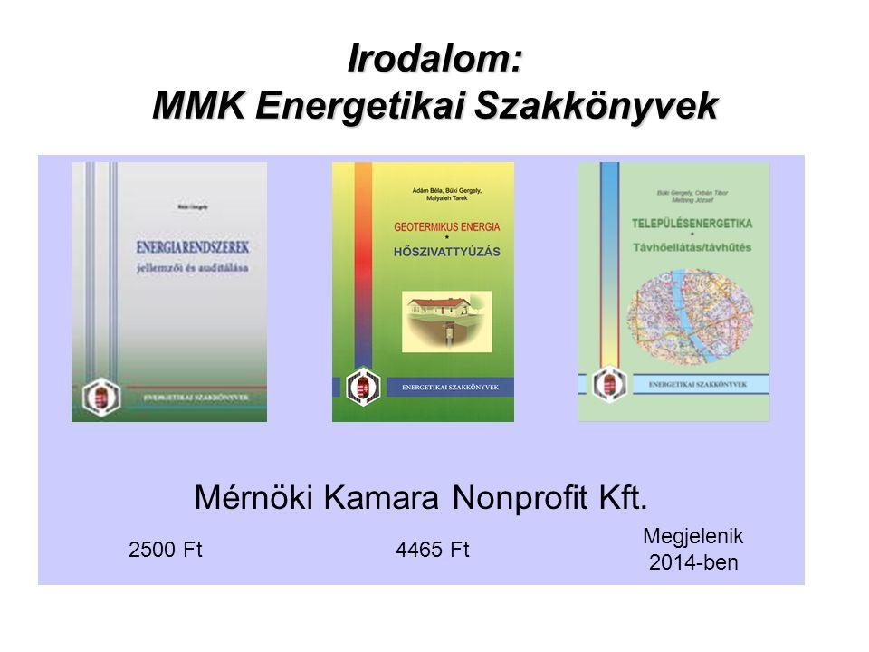 Irodalom: MMK Energetikai Szakkönyvek