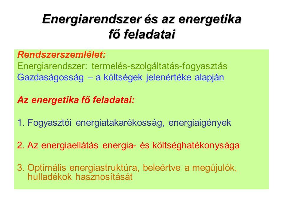 Energiarendszer és az energetika fő feladatai