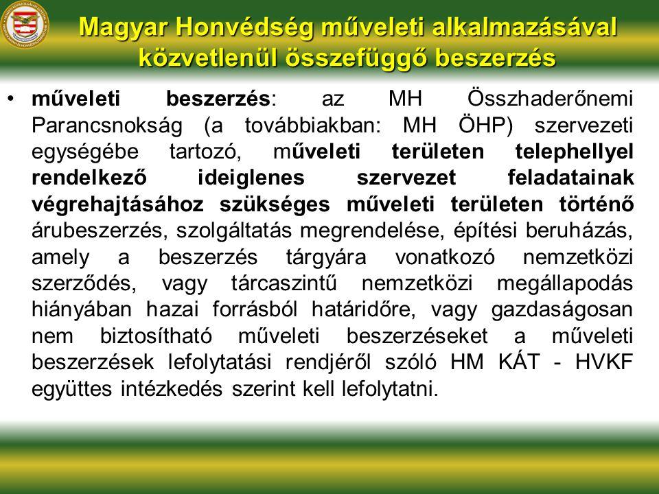 Magyar Honvédség műveleti alkalmazásával közvetlenül összefüggő beszerzés