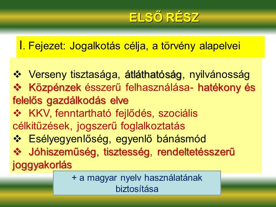 + a magyar nyelv használatának biztosítása