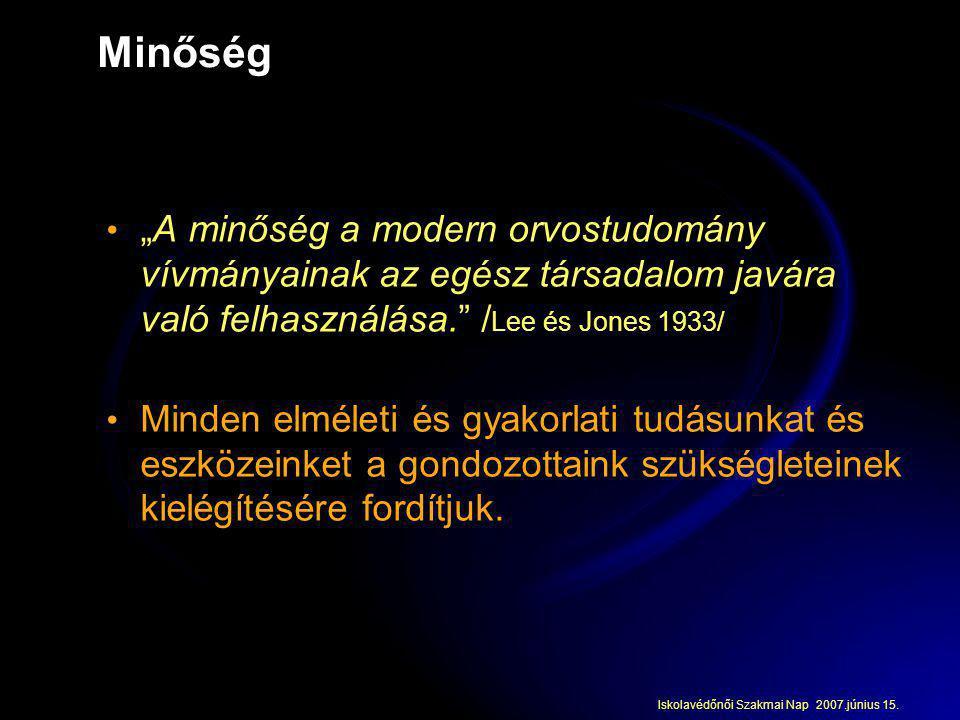 """Minőség """"A minőség a modern orvostudomány vívmányainak az egész társadalom javára való felhasználása. /Lee és Jones 1933/"""
