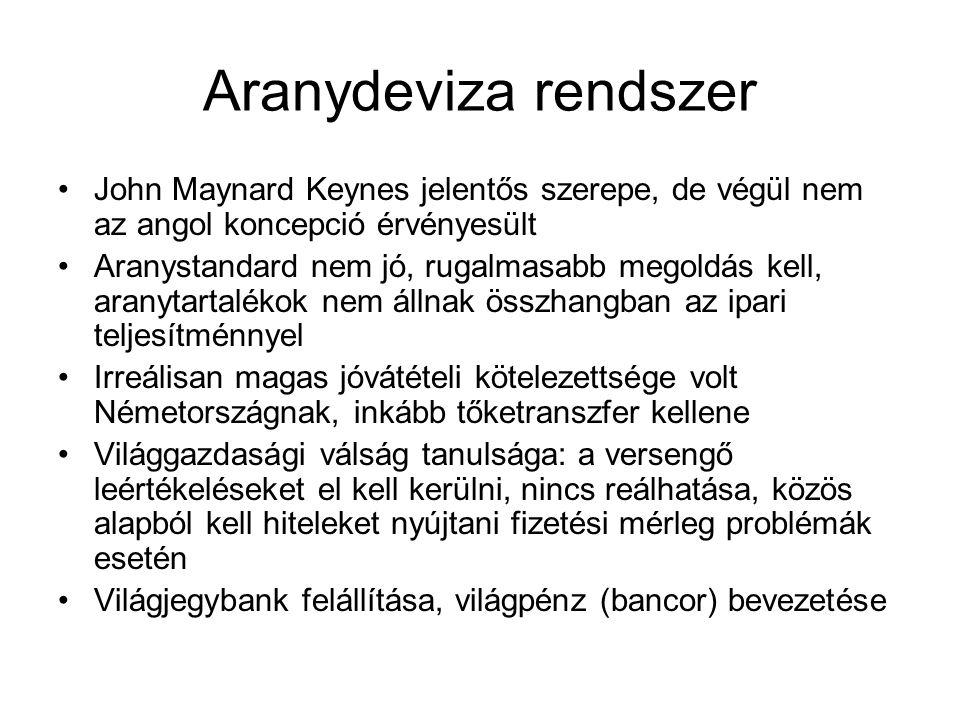 Aranydeviza rendszer John Maynard Keynes jelentős szerepe, de végül nem az angol koncepció érvényesült.