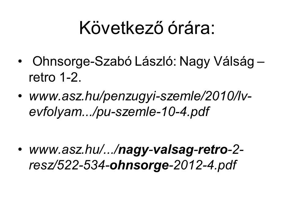 Következő órára: Ohnsorge-Szabó László: Nagy Válság – retro 1-2.