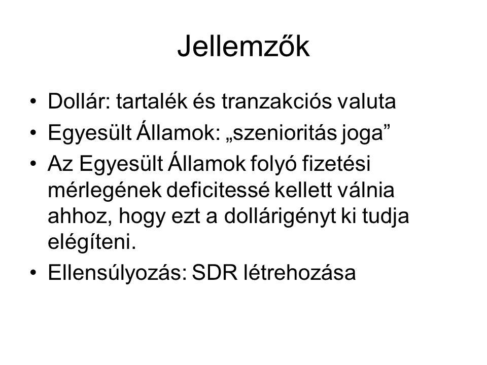 Jellemzők Dollár: tartalék és tranzakciós valuta