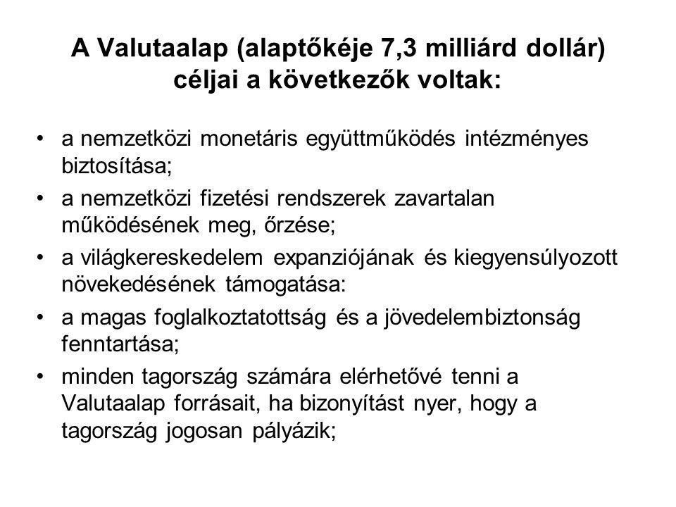 A Valutaalap (alaptőkéje 7,3 milliárd dollár) céljai a következők voltak: