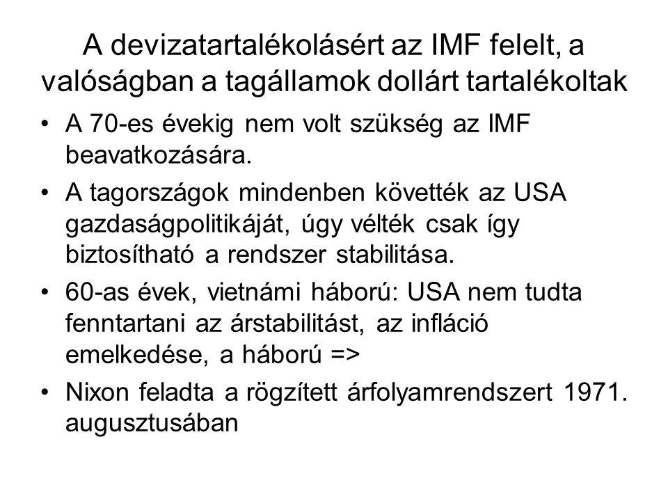 A devizatartalékolásért az IMF felelt, a valóságban a tagállamok dollárt tartalékoltak