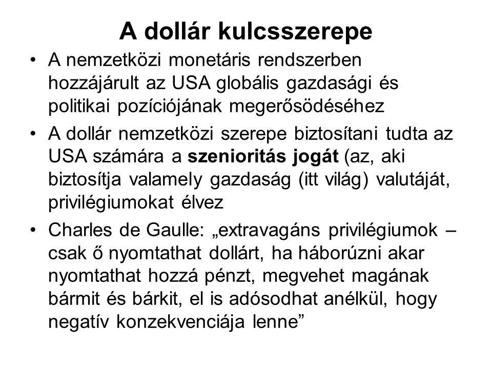 A dollár kulcsszerepe A nemzetközi monetáris rendszerben hozzájárult az USA globális gazdasági és politikai pozíciójának megerősödéséhez.