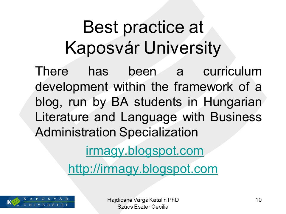 Best practice at Kaposvár University