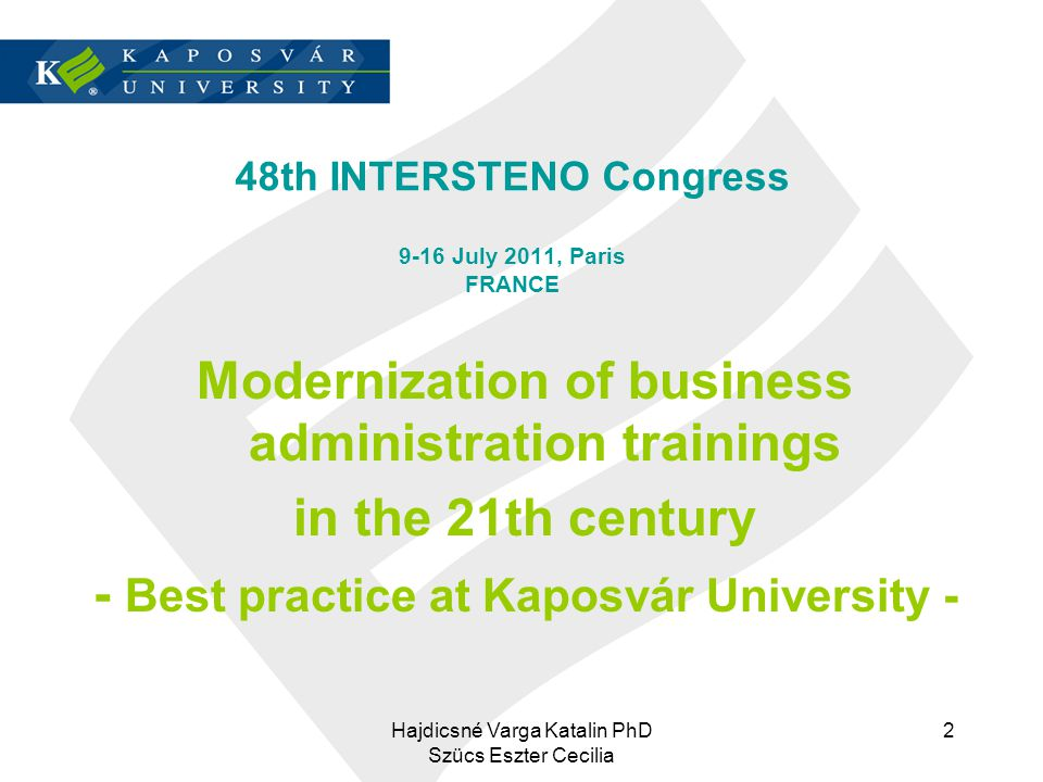 48th INTERSTENO Congress 9-16 July 2011, Paris FRANCE