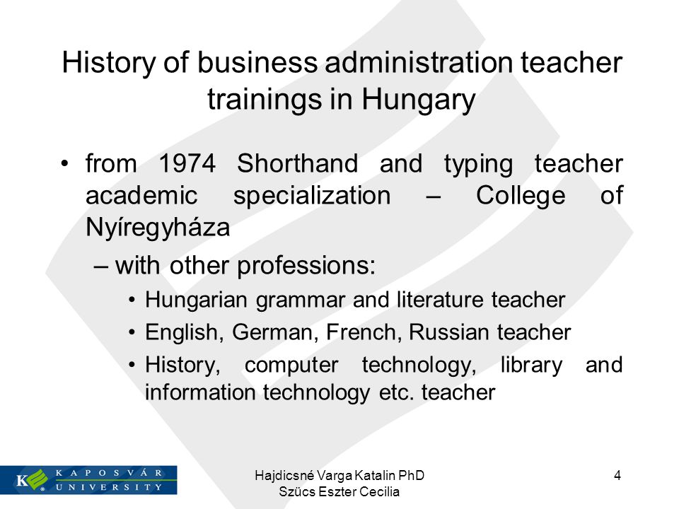 History of business administration teacher trainings in Hungary