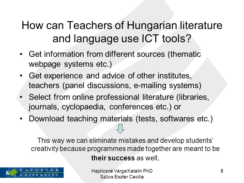 How can Teachers of Hungarian literature and language use ICT tools
