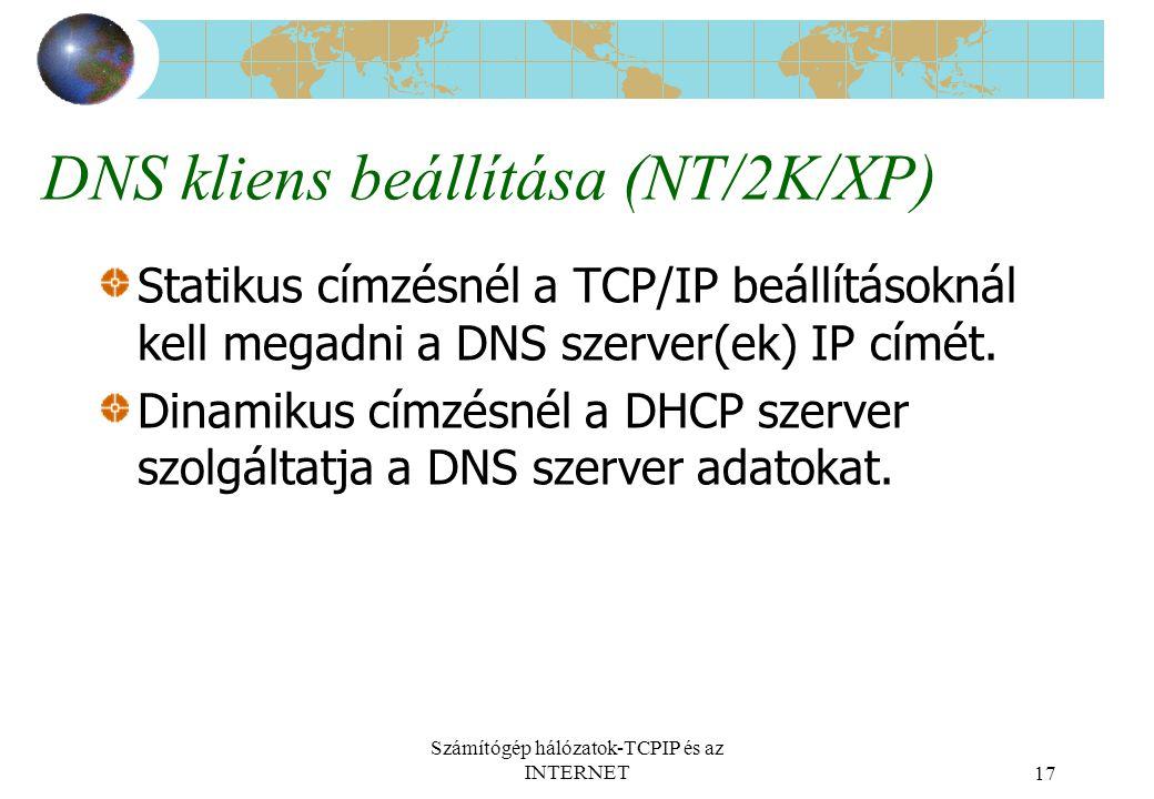 DNS kliens beállítása (NT/2K/XP)