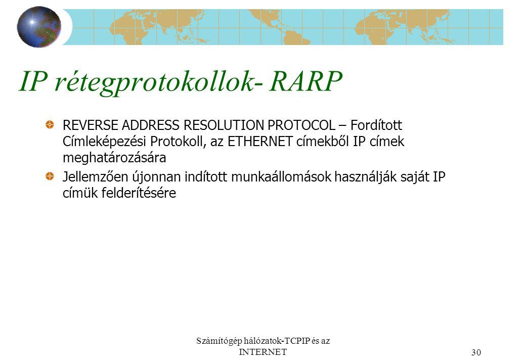 IP rétegprotokollok- RARP